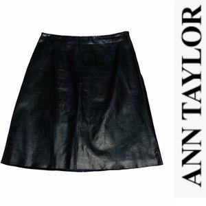 Ann Taylor Black Leather A-line Skirt 4